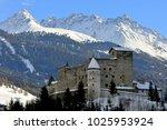 nauders castle in winter ... | Shutterstock . vector #1025953924