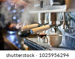 barista making a espresso with... | Shutterstock . vector #1025956294