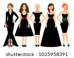young woman in different black... | Shutterstock . vector #1025958391