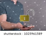 cyber security concept above a... | Shutterstock . vector #1025961589