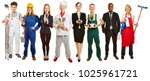 panorama with group of... | Shutterstock . vector #1025961721