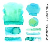 set of watercolor hand drawn... | Shutterstock .eps vector #1025967019