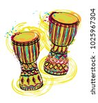 drums tam tam with splashes in... | Shutterstock .eps vector #1025967304