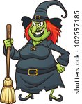 Evil Cartoon Witch. Vector...