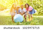 group of kids playing with...   Shutterstock . vector #1025973715