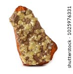 Small photo of Yellow Adamite crystals on a matrix of brown Limonite rock.