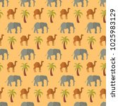 seamless pattern elephant camel ... | Shutterstock .eps vector #1025983129