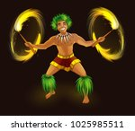 hawaiian dancer with fiery... | Shutterstock .eps vector #1025985511