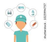 cartoon paramedic staff... | Shutterstock .eps vector #1025994757