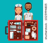 medical staff man and woman... | Shutterstock .eps vector #1025994805