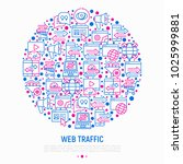 web traffic concept in circle... | Shutterstock .eps vector #1025999881