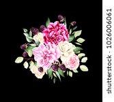 a beautiful watercolor bouquet...   Shutterstock . vector #1026006061