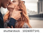 kiss of the young couple summer | Shutterstock . vector #1026007141