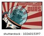 vector monkey astronaut. mars... | Shutterstock .eps vector #1026015397