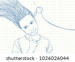 blue pen sketch on square grid... | Shutterstock .eps vector #1026026044