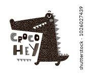 cute cartoon crocodile print.... | Shutterstock . vector #1026027439
