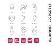 pacifier  baby boy and bottle... | Shutterstock .eps vector #1026027565