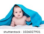 surprised smiling baby with big ... | Shutterstock . vector #1026027931