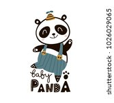 cute cartoon baby panda .... | Shutterstock .eps vector #1026029065