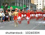 Beautiful girls in the carnival parade in Cyprus. - stock photo