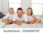 young caucasian man  lying on... | Shutterstock . vector #1026030769