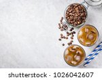 cold brewed iced coffee in... | Shutterstock . vector #1026042607