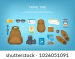 travel planning  packing check... | Shutterstock .eps vector #1026051091