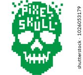 hacker sign with pixel skull  ... | Shutterstock .eps vector #1026053179