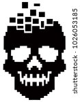 hacker sign with pixel skull  ... | Shutterstock .eps vector #1026053185