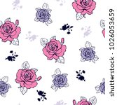Stock vector beautiful roses pattern lilac and pink color for fabric print wallpaper 1026053659
