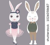 vector cute couple bunnies.... | Shutterstock .eps vector #1026058687