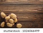 fresh potato food. pile of raw... | Shutterstock . vector #1026066499