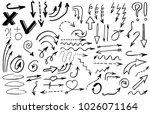 doodle hand drawn vector arrows | Shutterstock .eps vector #1026071164