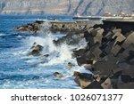 sea shore near harbor with... | Shutterstock . vector #1026071377
