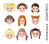 little girls with hairstyle | Shutterstock .eps vector #1026078511