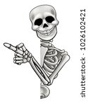 a skeleton cartoon character... | Shutterstock .eps vector #1026102421