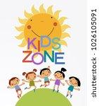 cartoon children playing. flat... | Shutterstock .eps vector #1026105091