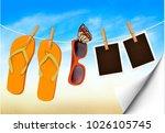 flip flops  sunglasses and... | Shutterstock .eps vector #1026105745
