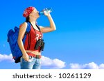 young girl drinking from bottle ... | Shutterstock . vector #10261129