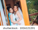 portrait of bride with... | Shutterstock . vector #1026121201