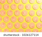 oranges on yellow color... | Shutterstock . vector #1026127114
