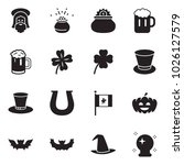 solid black vector icon set  ... | Shutterstock .eps vector #1026127579