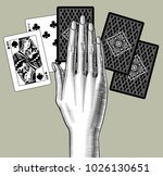 woman's hand laying out playing ... | Shutterstock .eps vector #1026130651