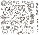 valentines day handdrawn pattern | Shutterstock .eps vector #1026136981