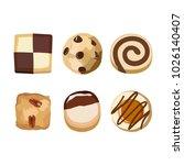 six kinds of cookies  chocolate ... | Shutterstock .eps vector #1026140407