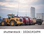 multiple cars  trucks  loaders  ...   Shutterstock . vector #1026141694