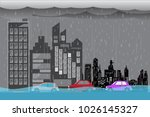 city flood flooding water in... | Shutterstock .eps vector #1026145327