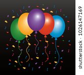 colored balloons flying... | Shutterstock .eps vector #1026147169