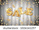 vector gold sale balloons... | Shutterstock .eps vector #1026161257