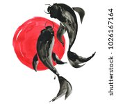 koi fishes  carps  and red sun... | Shutterstock . vector #1026167164